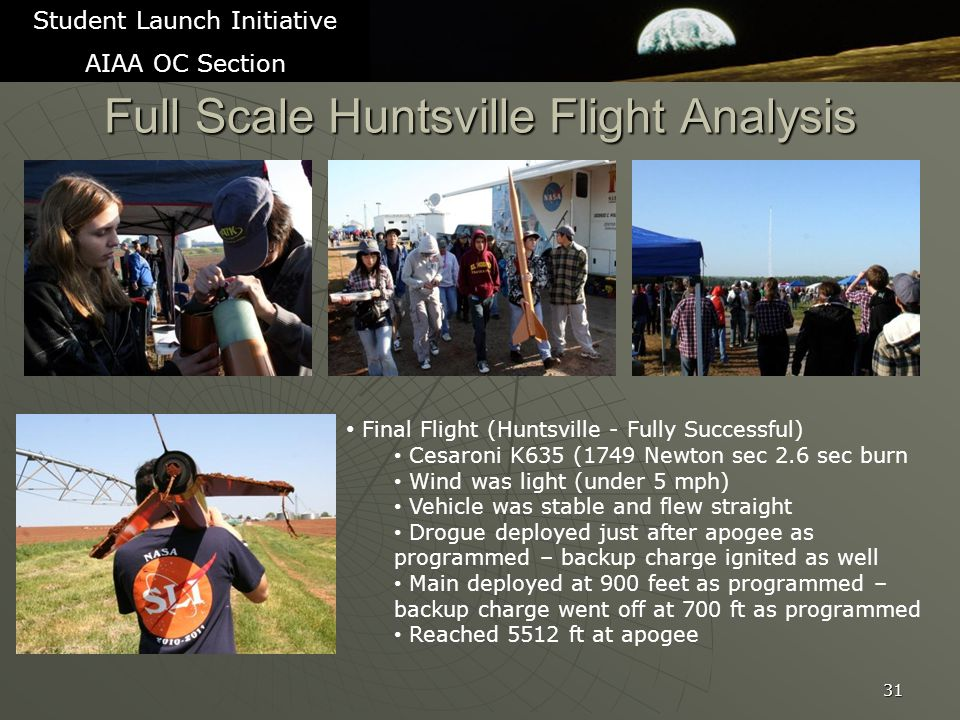Full Scale Huntsville Flight Analysis 31 Student Launch Initiative AIAA OC Section Final Flight (Huntsville - Fully Successful) Cesaroni K635 (1749 Newton sec 2.6 sec burn Wind was light (under 5 mph) Vehicle was stable and flew straight Drogue deployed just after apogee as programmed – backup charge ignited as well Main deployed at 900 feet as programmed – backup charge went off at 700 ft as programmed Reached 5512 ft at apogee