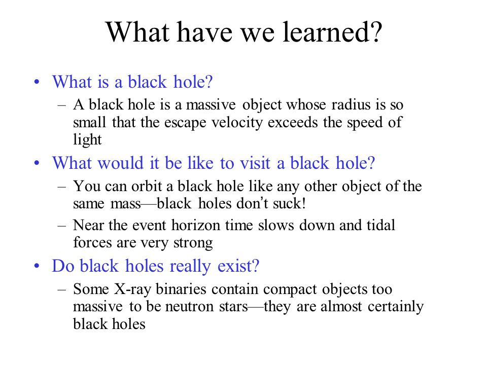 What have we learned. What is a black hole.