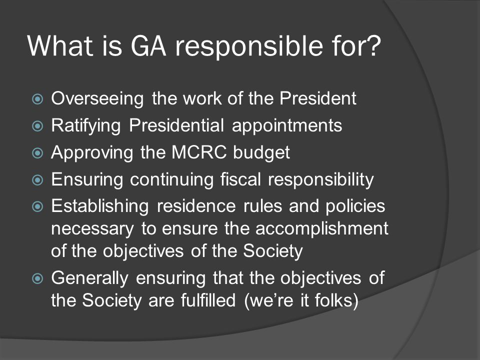What is GA responsible for.