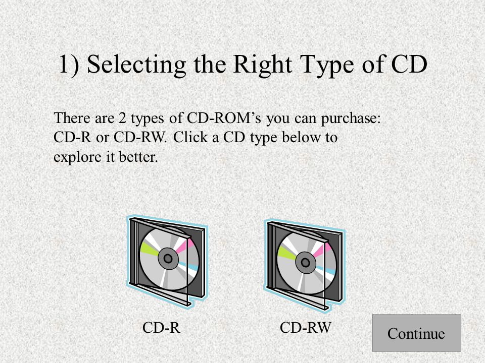 Steps in Writing Files to a CD There are 4 steps in writing files to a CD-ROM: 3) Select files to be written to the CD.