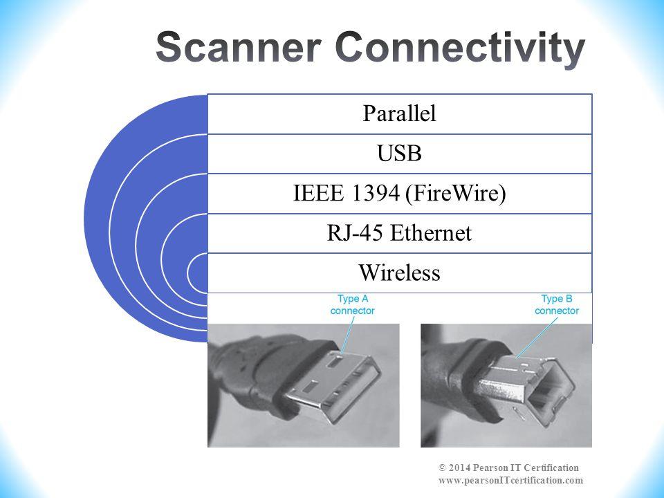 Parallel USB IEEE 1394 (FireWire) RJ-45 Ethernet Wireless © 2014 Pearson IT Certification www.pearsonITcertification.com