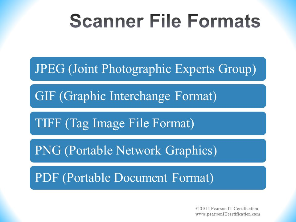 JPEG (Joint Photographic Experts Group)GIF (Graphic Interchange Format)TIFF (Tag Image File Format)PNG (Portable Network Graphics)PDF (Portable Document Format) © 2014 Pearson IT Certification www.pearsonITcertification.com