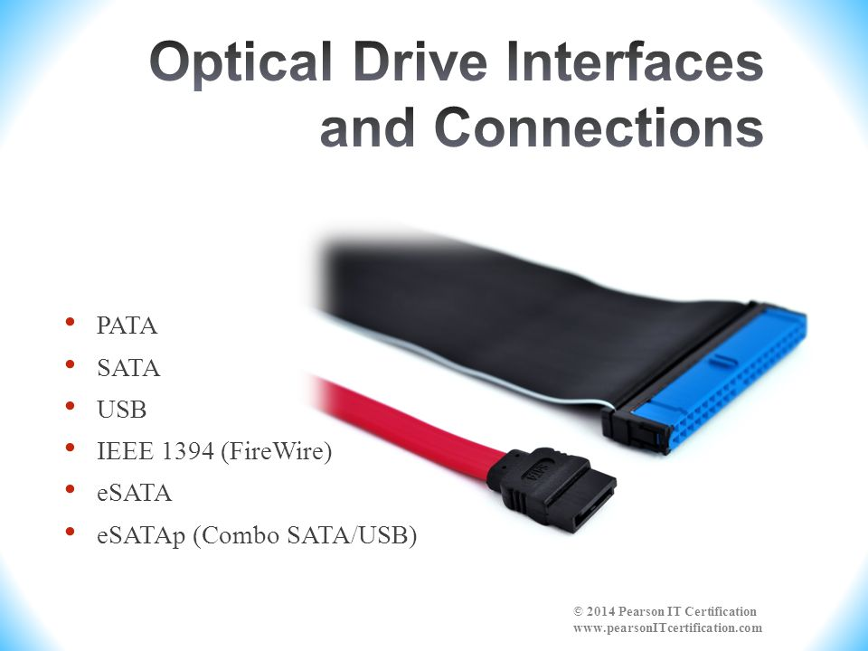 PATA SATA USB IEEE 1394 (FireWire) eSATA eSATAp (Combo SATA/USB) © 2014 Pearson IT Certification www.pearsonITcertification.com