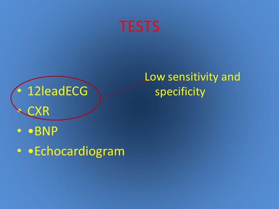 TESTS 12leadECG CXR BNP Echocardiogram Low sensitivity and specificity