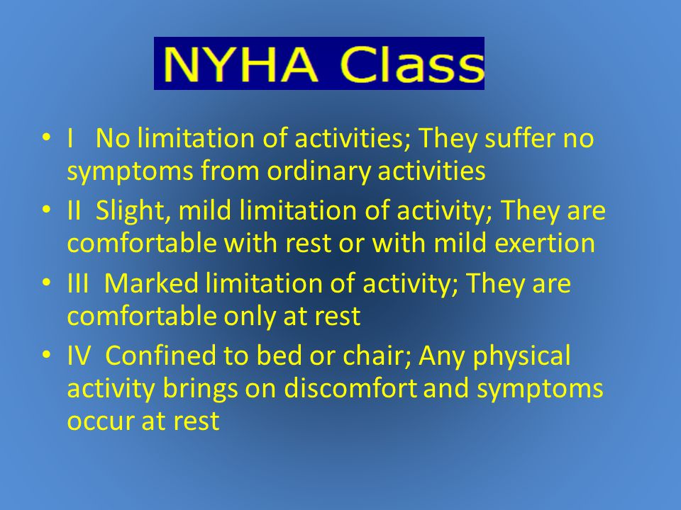 I No limitation of activities; They suffer no symptoms from ordinary activities II Slight, mild limitation of activity; They are comfortable with rest or with mild exertion III Marked limitation of activity; They are comfortable only at rest IV Confined to bed or chair; Any physical activity brings on discomfort and symptoms occur at rest