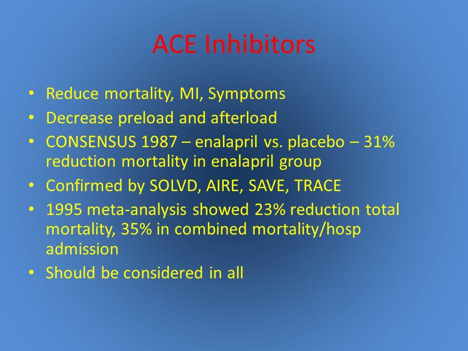 ACE Inhibitors Reduce mortality, MI, Symptoms Decrease preload and afterload CONSENSUS 1987 – enalapril vs.