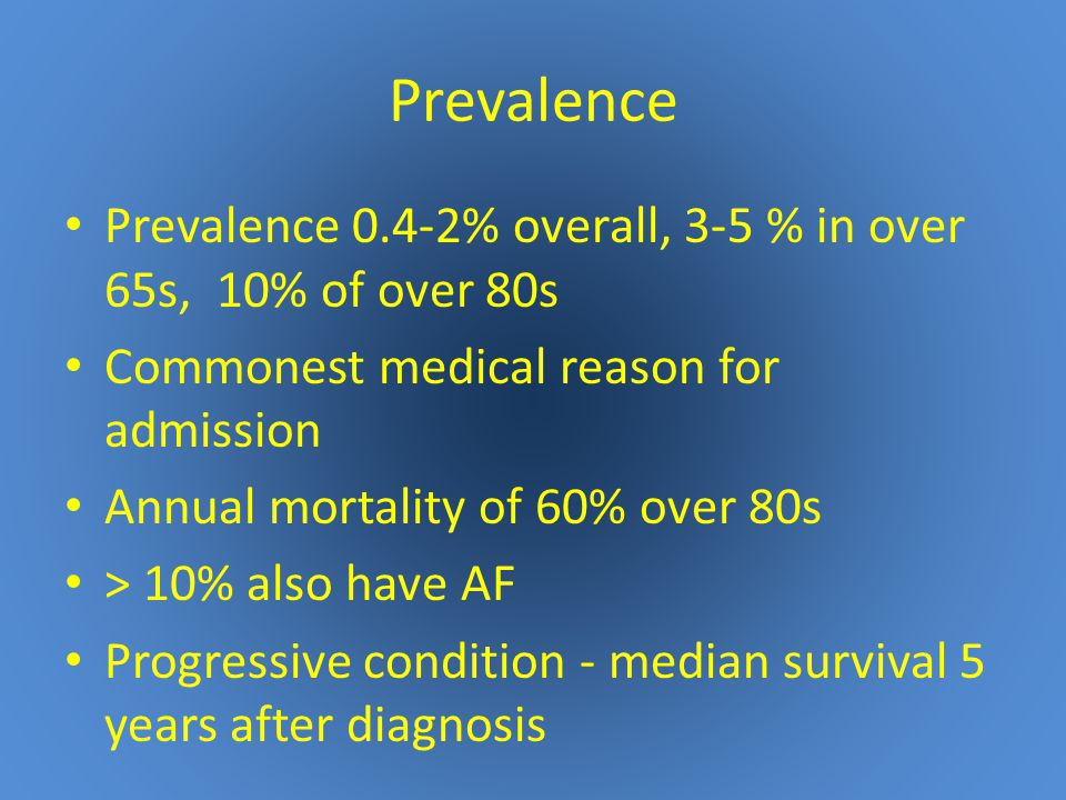 Prevalence Prevalence 0.4-2% overall, 3-5 % in over 65s, 10% of over 80s Commonest medical reason for admission Annual mortality of 60% over 80s > 10% also have AF Progressive condition - median survival 5 years after diagnosis