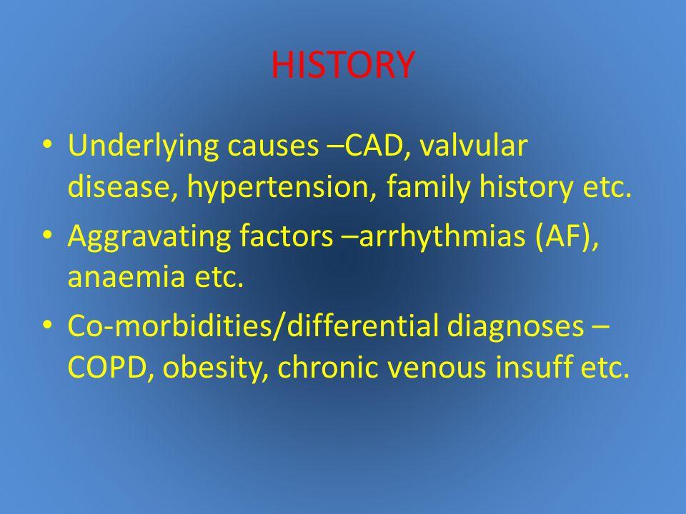 HISTORY Underlying causes –CAD, valvular disease, hypertension, family history etc.