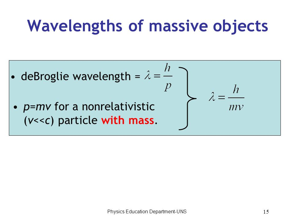 Physics Education Department-UNS 15 Wavelengths of massive objects deBroglie wavelength = p=mv for a nonrelativistic (v<<c) particle with mass.