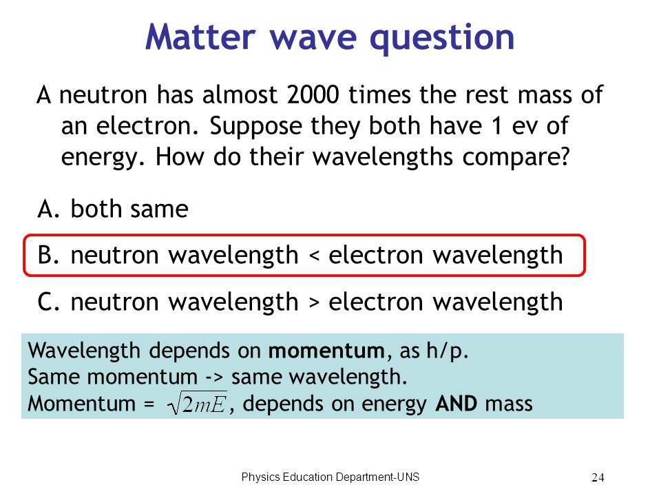 Physics Education Department-UNS 24 Matter wave question A neutron has almost 2000 times the rest mass of an electron. Suppose they both have 1 ev of