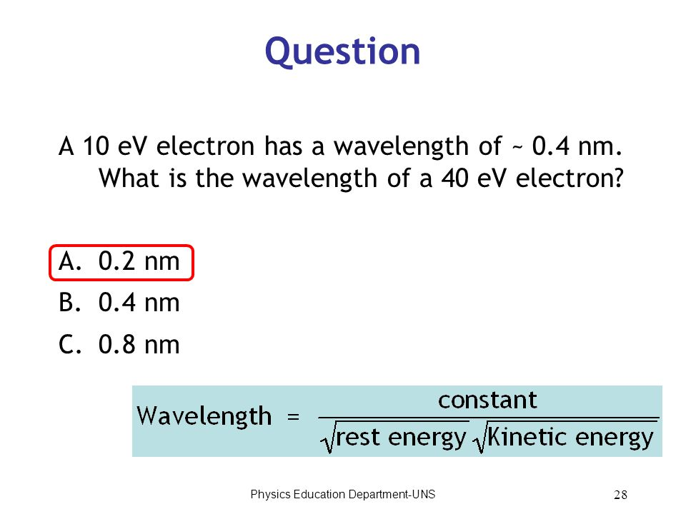 Physics Education Department-UNS 28 Question A 10 eV electron has a wavelength of ~ 0.4 nm. What is the wavelength of a 40 eV electron? A.0.2 nm B.0.4