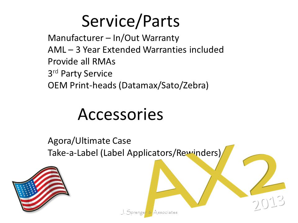 Service/Parts Manufacturer – In/Out Warranty AML – 3 Year Extended Warranties included Provide all RMAs 3 rd Party Service OEM Print-heads (Datamax/Sato/Zebra) Accessories Agora/Ultimate Case Take-a-Label (Label Applicators/Rewinders) J.