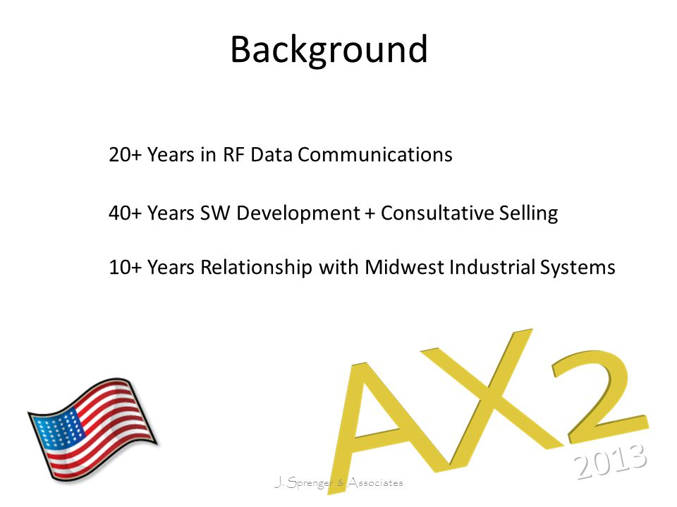 Background 20+ Years in RF Data Communications 40+ Years SW Development + Consultative Selling 10+ Years Relationship with Midwest Industrial Systems J.