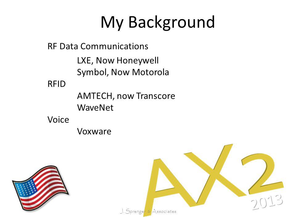 My Background RF Data Communications LXE, Now Honeywell Symbol, Now Motorola RFID AMTECH, now Transcore WaveNet Voice Voxware J.