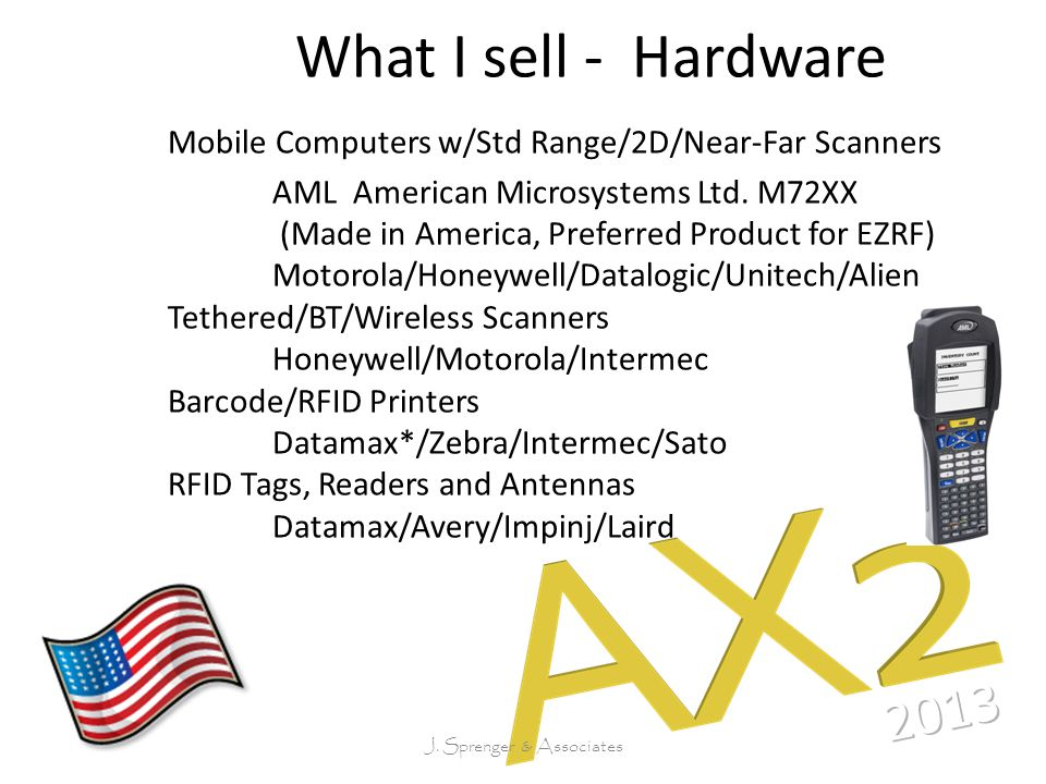 What I sell - Hardware Mobile Computers w/Std Range/2D/Near-Far Scanners AML American Microsystems Ltd.