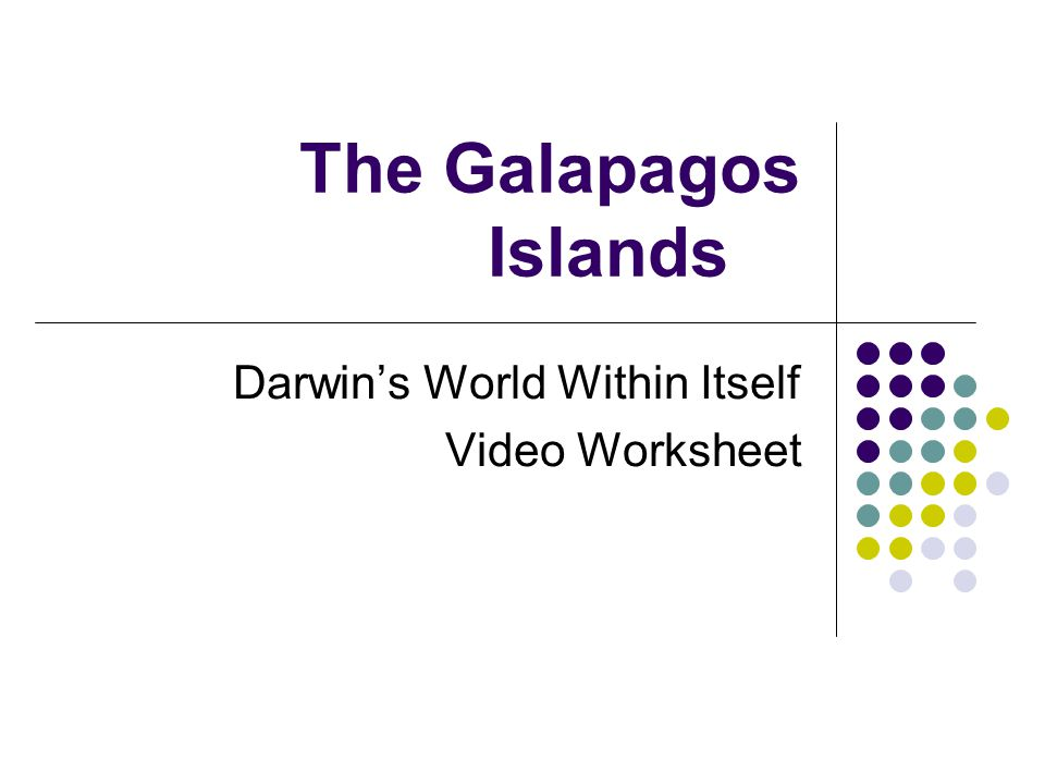The Galapagos Islands Darwin's World Within Itself Video Worksheet