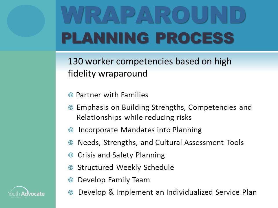 WRAPAROUND PLANNING PROCESS 130 worker competencies based on high fidelity wraparound  Partner with Families  Emphasis on Building Strengths, Competencies and Relationships while reducing risks  Incorporate Mandates into Planning  Needs, Strengths, and Cultural Assessment Tools  Crisis and Safety Planning  Structured Weekly Schedule  Develop Family Team  Develop & Implement an Individualized Service Plan