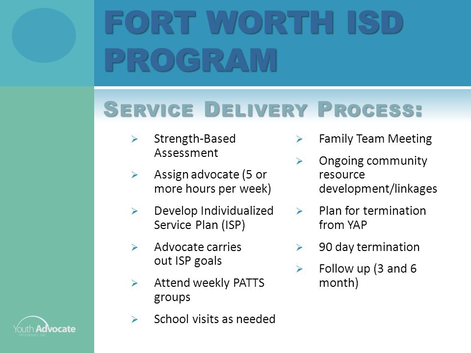  Strength-Based Assessment  Assign advocate (5 or more hours per week)  Develop Individualized Service Plan (ISP)  Advocate carries out ISP goals  Attend weekly PATTS groups  School visits as needed FORT WORTH ISD PROGRAM S ERVICE D ELIVERY P ROCESS :  Family Team Meeting  Ongoing community resource development/linkages  Plan for termination from YAP  90 day termination  Follow up (3 and 6 month)