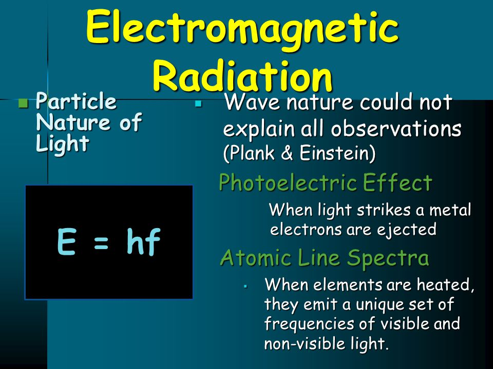 Electromagnetic Radiation Particle Nature of Light Particle Nature of Light  Wave nature could not explain all observations (Plank & Einstein) Photoe