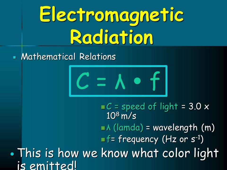 Electromagnetic Radiation  Mathematical Relations C = speed of light = 3.0 x 10 8 m/s C = speed of light = 3.0 x 10 8 m/s λ (lamda) = wavelength (m)