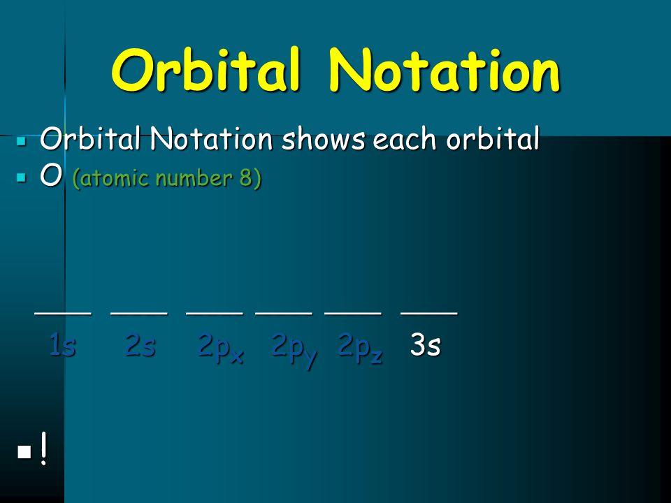 Orbital Notation  Orbital Notation shows each orbital  O (atomic number 8) ____ ____ ____ ____ ____ ____ ____ ____ ____ ____ ____ ____ 1s 2s 2p x 2p