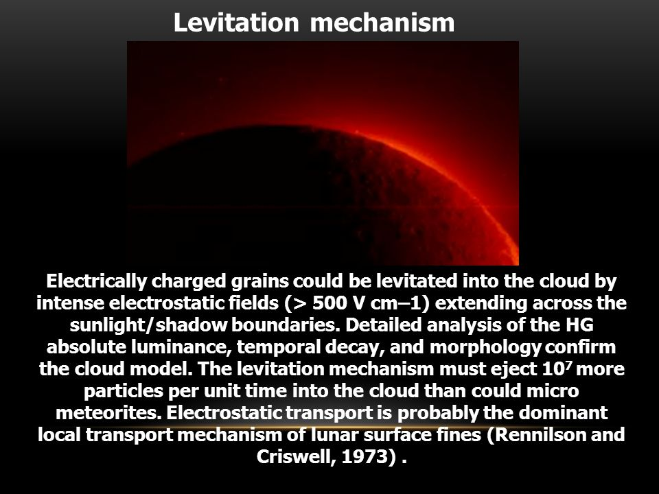 Electrically charged grains could be levitated into the cloud by intense electrostatic fields (> 500 V cm–1) extending across the sunlight/shadow boundaries.