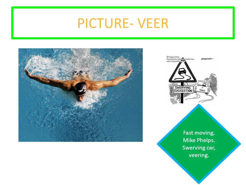 PICTURE- VEER Fast moving, Mike Phelps. Swerving car, veering.