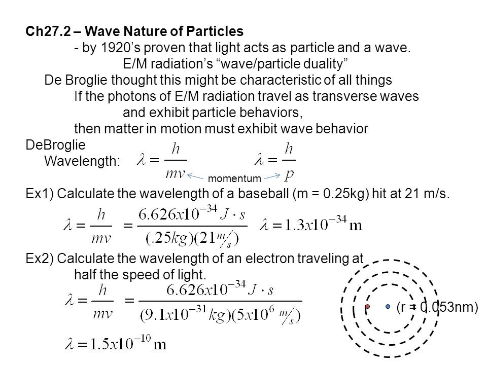 Ch27.2 – Wave Nature of Particles - by 1920's proven that light acts as particle and a wave.