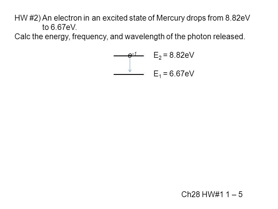HW #2) An electron in an excited state of Mercury drops from 8.82eV to 6.67eV.