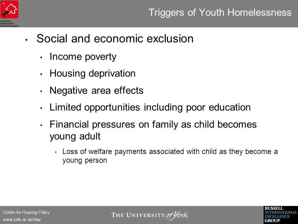 Centre for Housing Policy www.york.ac.uk/chp/ Triggers of Youth Homelessness Social and economic exclusion Income poverty Housing deprivation Negative area effects Limited opportunities including poor education Financial pressures on family as child becomes young adult Loss of welfare payments associated with child as they become a young person