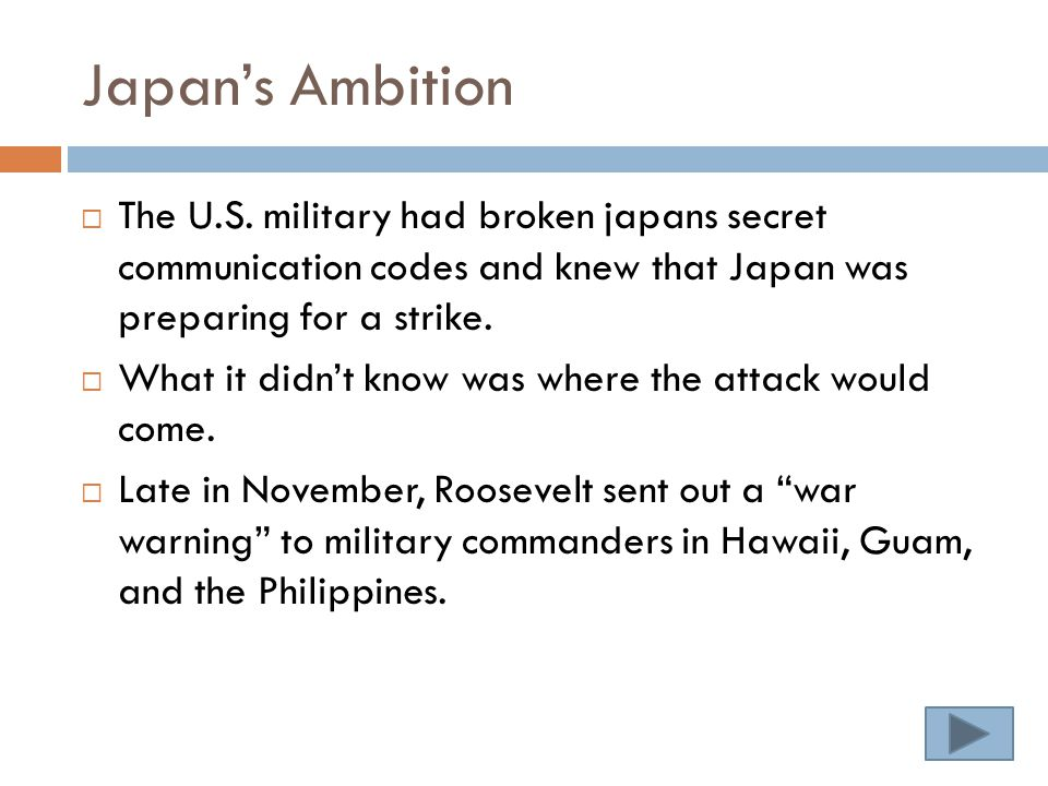Japan's Ambition  The U.S.