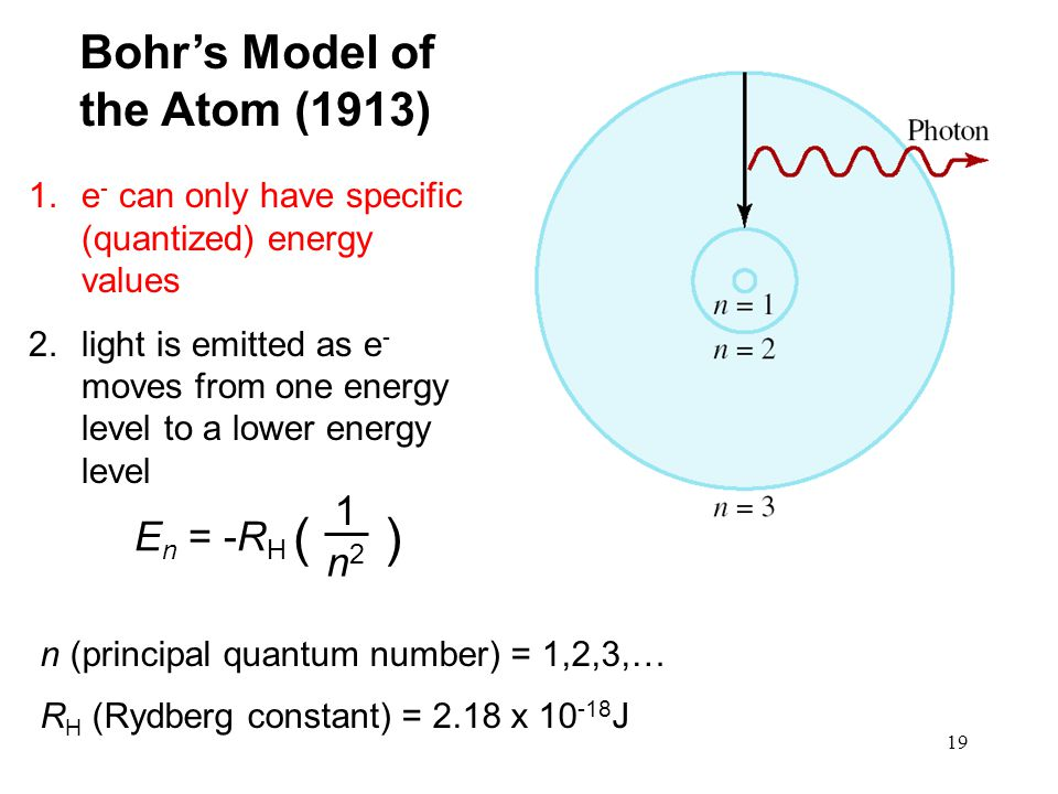 19 1.e - can only have specific (quantized) energy values 2.light is emitted as e - moves from one energy level to a lower energy level Bohr's Model of the Atom (1913) E n = -R H ( ) 1 n2n2 n (principal quantum number) = 1,2,3,… R H (Rydberg constant) = 2.18 x 10 -18 J