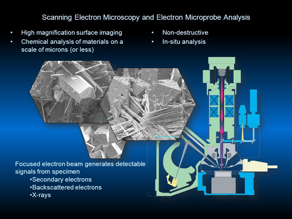 Scanning Electron Microscopy and Electron Microprobe Analysis High magnification surface imaging Chemical analysis of materials on a scale of microns