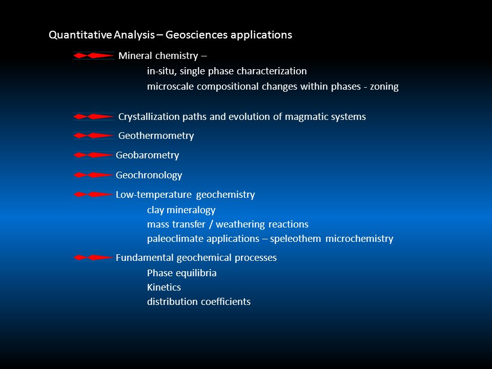 Quantitative Analysis – Geosciences applications Mineral chemistry – in-situ, single phase characterization microscale compositional changes within phases - zoning Crystallization paths and evolution of magmatic systems Geothermometry Geobarometry Geochronology Low-temperature geochemistry clay mineralogy mass transfer / weathering reactions paleoclimate applications – speleothem microchemistry Fundamental geochemical processes Phase equilibria Kinetics distribution coefficients