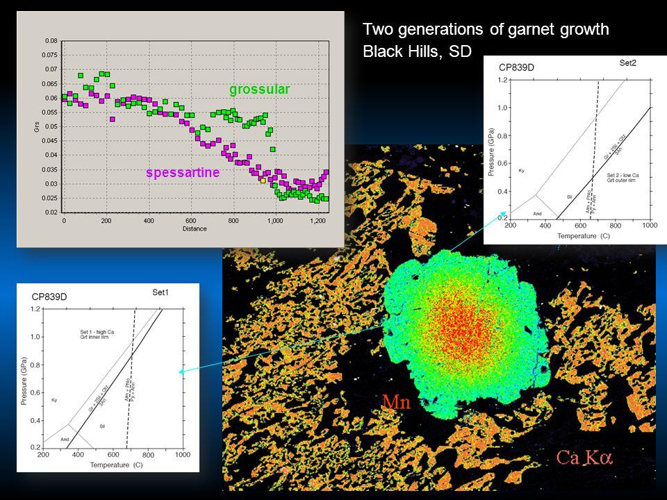 Two generations of garnet growth Black Hills, SD grossular spessartine