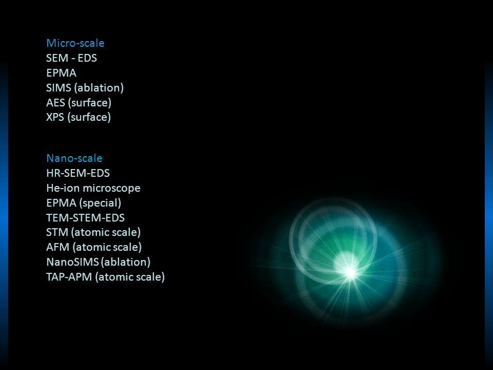Micro-scale SEM - EDS EPMA SIMS (ablation) AES (surface) XPS (surface) Nano-scale HR-SEM-EDS He-ion microscope EPMA (special) TEM-STEM-EDS STM (atomic