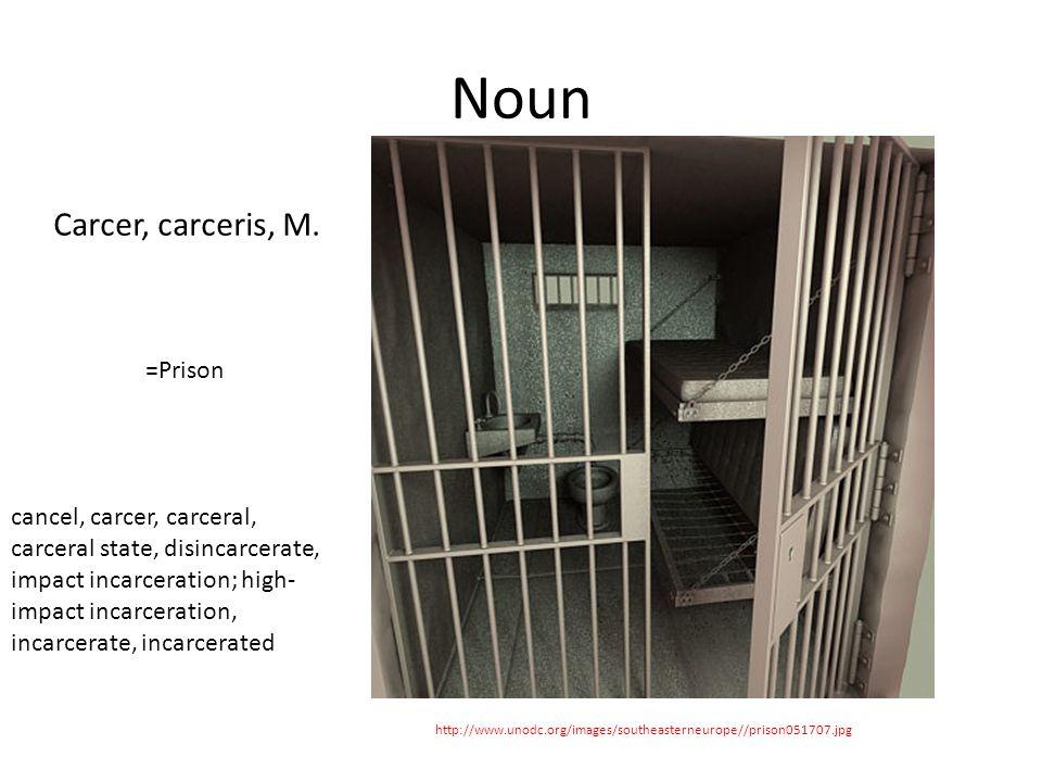 Noun http://www.unodc.org/images/southeasterneurope//prison051707.jpg Carcer, carceris, M.