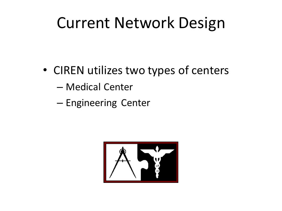 Current Network Design CIREN utilizes two types of centers – Medical Center – Engineering Center