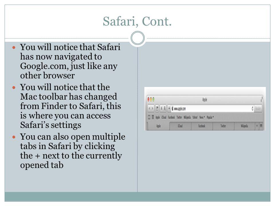 Safari, Cont.