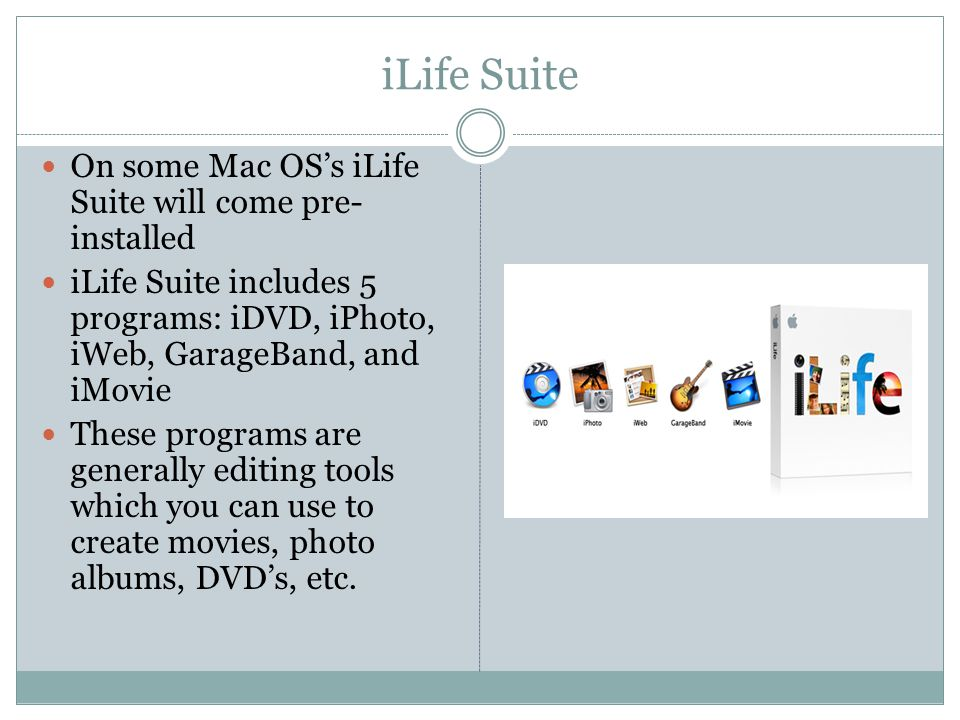 iLife Suite On some Mac OS's iLife Suite will come pre- installed iLife Suite includes 5 programs: iDVD, iPhoto, iWeb, GarageBand, and iMovie These programs are generally editing tools which you can use to create movies, photo albums, DVD's, etc.