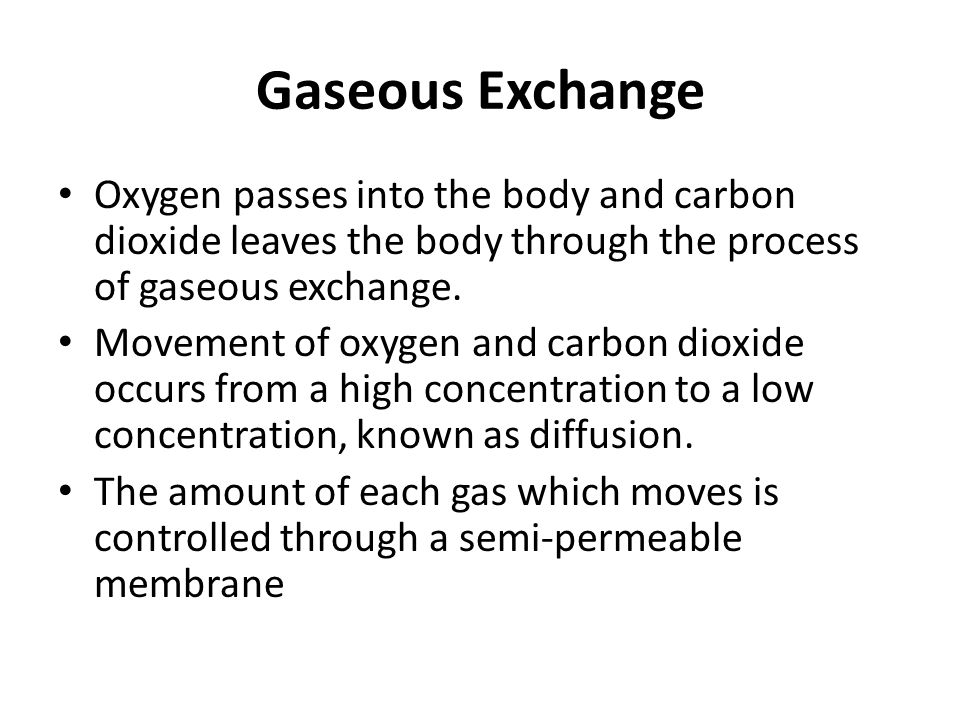 Gaseous Exchange Oxygen passes into the body and carbon dioxide leaves the body through the process of gaseous exchange. Movement of oxygen and carbon