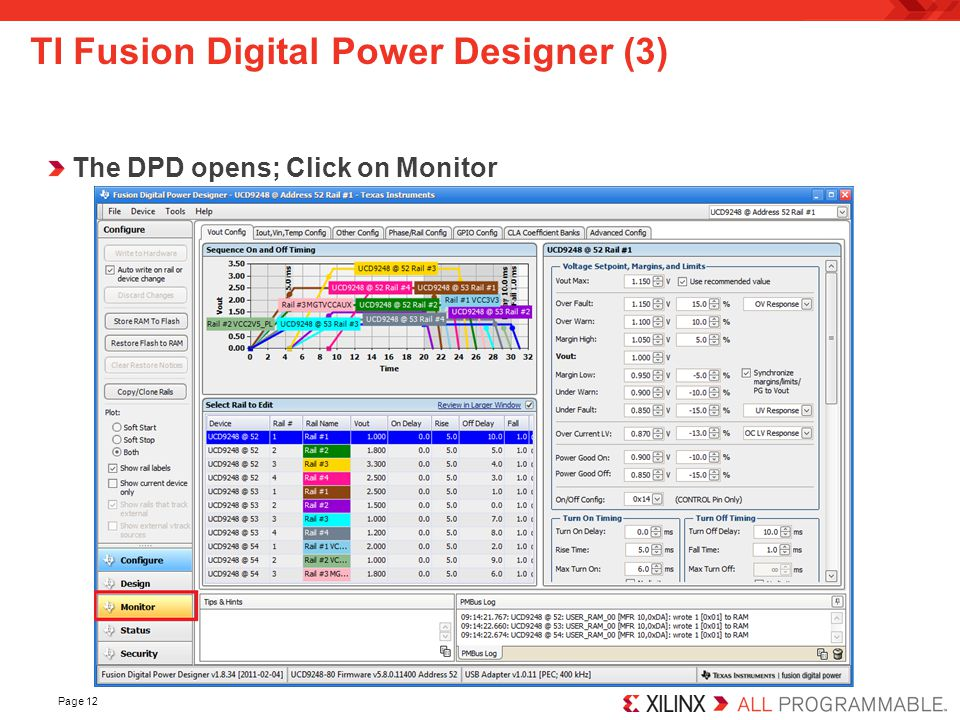 Page 12 TI Fusion Digital Power Designer (3) The DPD opens; Click on Monitor