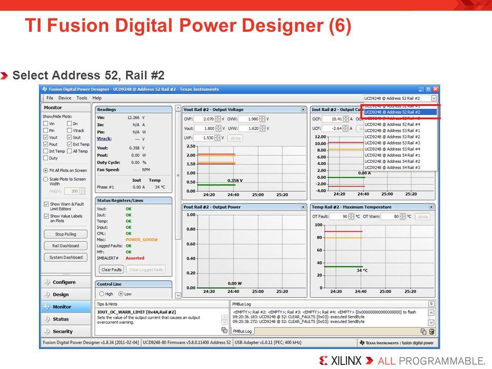 TI Fusion Digital Power Designer (6) Select Address 52, Rail #2