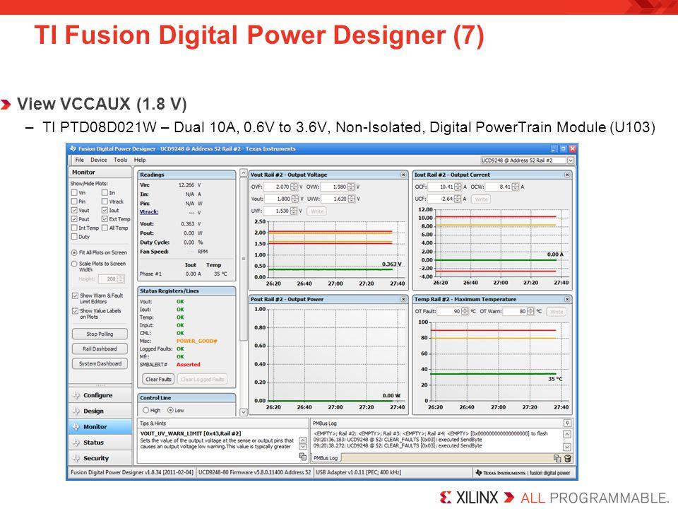 TI Fusion Digital Power Designer (7) View VCCAUX (1.8 V) –TI PTD08D021W – Dual 10A, 0.6V to 3.6V, Non-Isolated, Digital PowerTrain Module (U103)