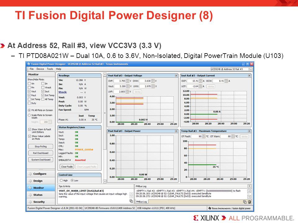 TI Fusion Digital Power Designer (8) At Address 52, Rail #3, view VCC3V3 (3.3 V) –TI PTD08A021W – Dual 10A, 0.6 to 3.6V, Non-Isolated, Digital PowerTr