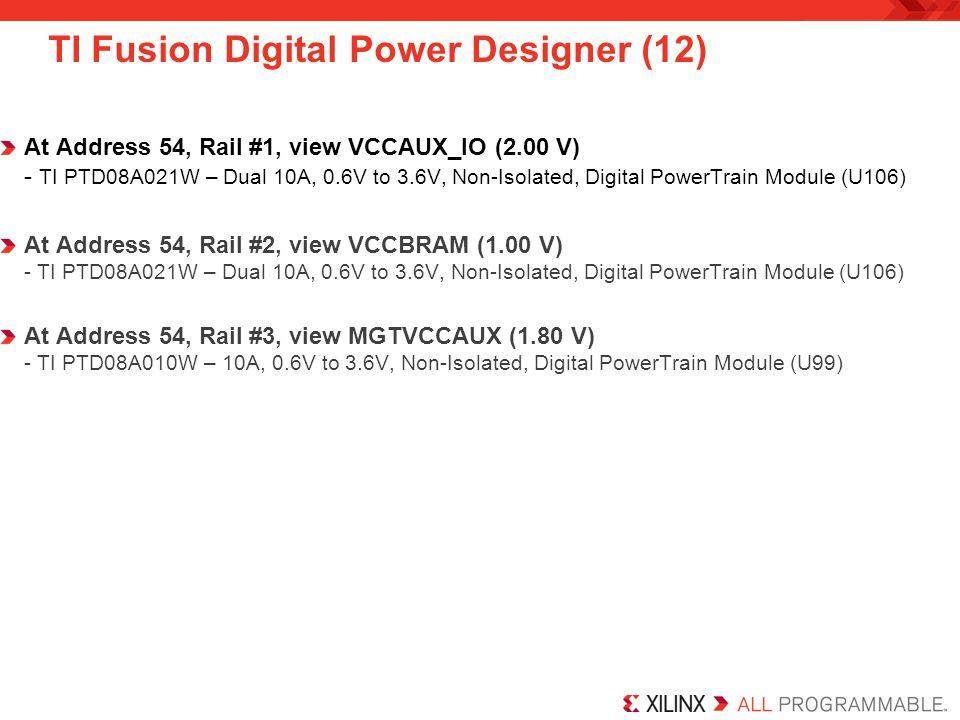 TI Fusion Digital Power Designer (12) At Address 54, Rail #1, view VCCAUX_IO (2.00 V) - TI PTD08A021W – Dual 10A, 0.6V to 3.6V, Non-Isolated, Digital