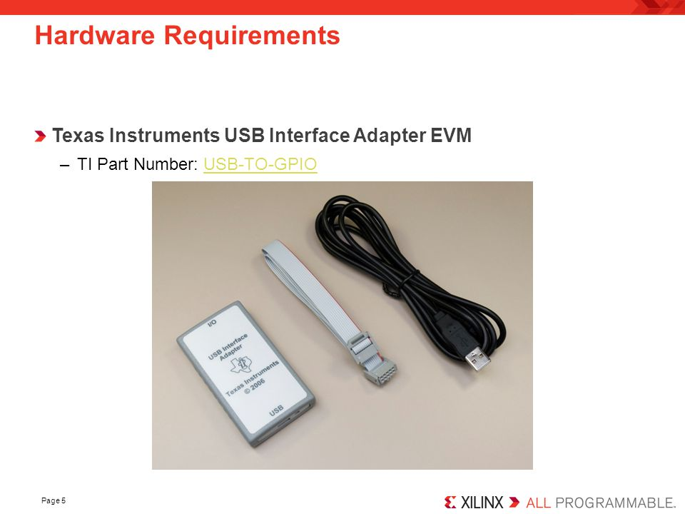 Page 5 Hardware Requirements Texas Instruments USB Interface Adapter EVM –TI Part Number: USB-TO-GPIOUSB-TO-GPIO