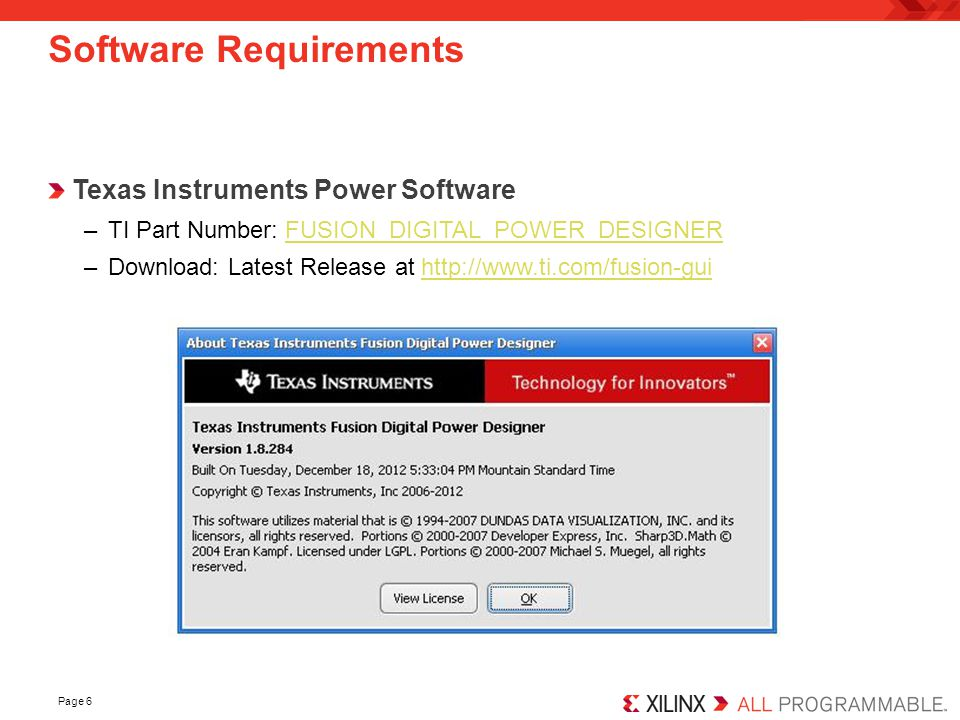 Page 7 Software Setup Install the TI Fusion Digital Power Designer Software