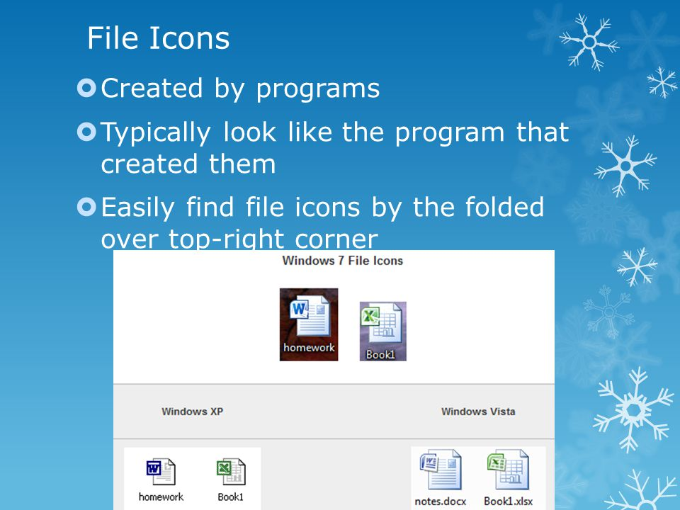 File Icons  Created by programs  Typically look like the program that created them  Easily find file icons by the folded over top-right corner