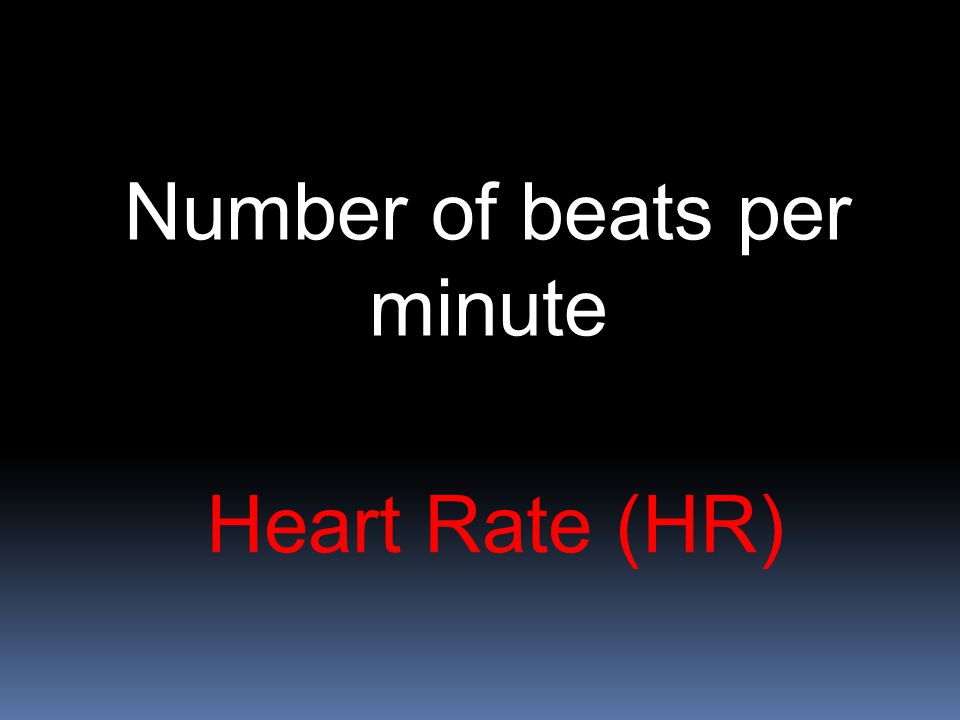 Heart Rate (HR) Number of beats per minute